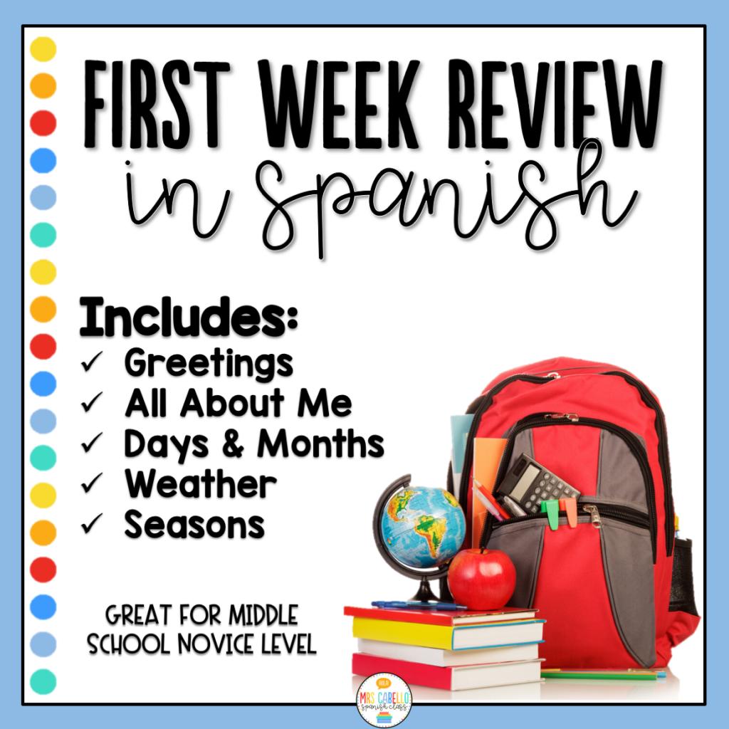 First Week Spanish